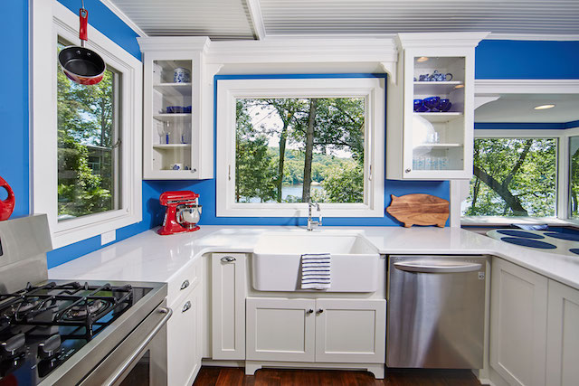 Picture perfect view from this remodeled Marine on St. Croix kitchen