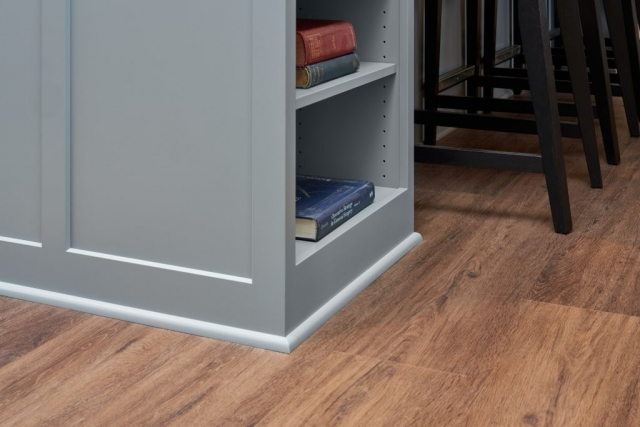 Kitchen island bookcase and LVP flooring
