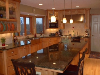 Woodbury kitchen with long island vertical plate storage