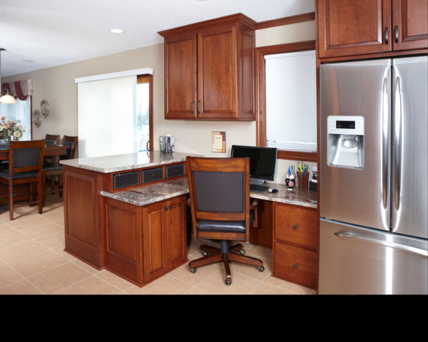 Working kitchen features office area