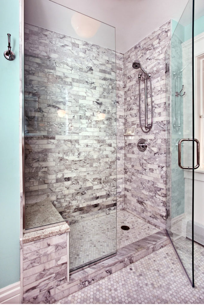 Marble tile shower photo