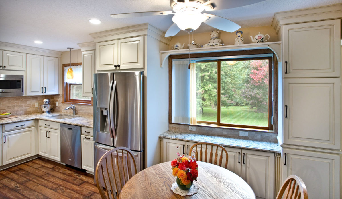 White kitchen with expanded cabinetry
