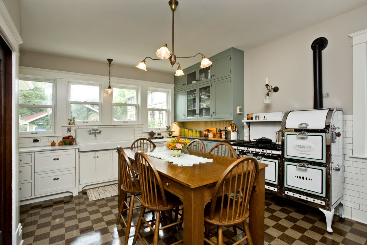 Remodeled kitchen with 1930s stove
