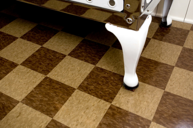Checkerboard commercial tile floor
