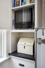 microwave in cabinet