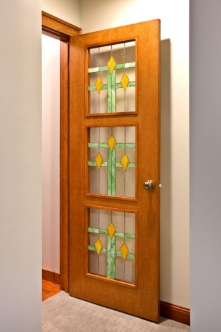 Door with stained glass panels