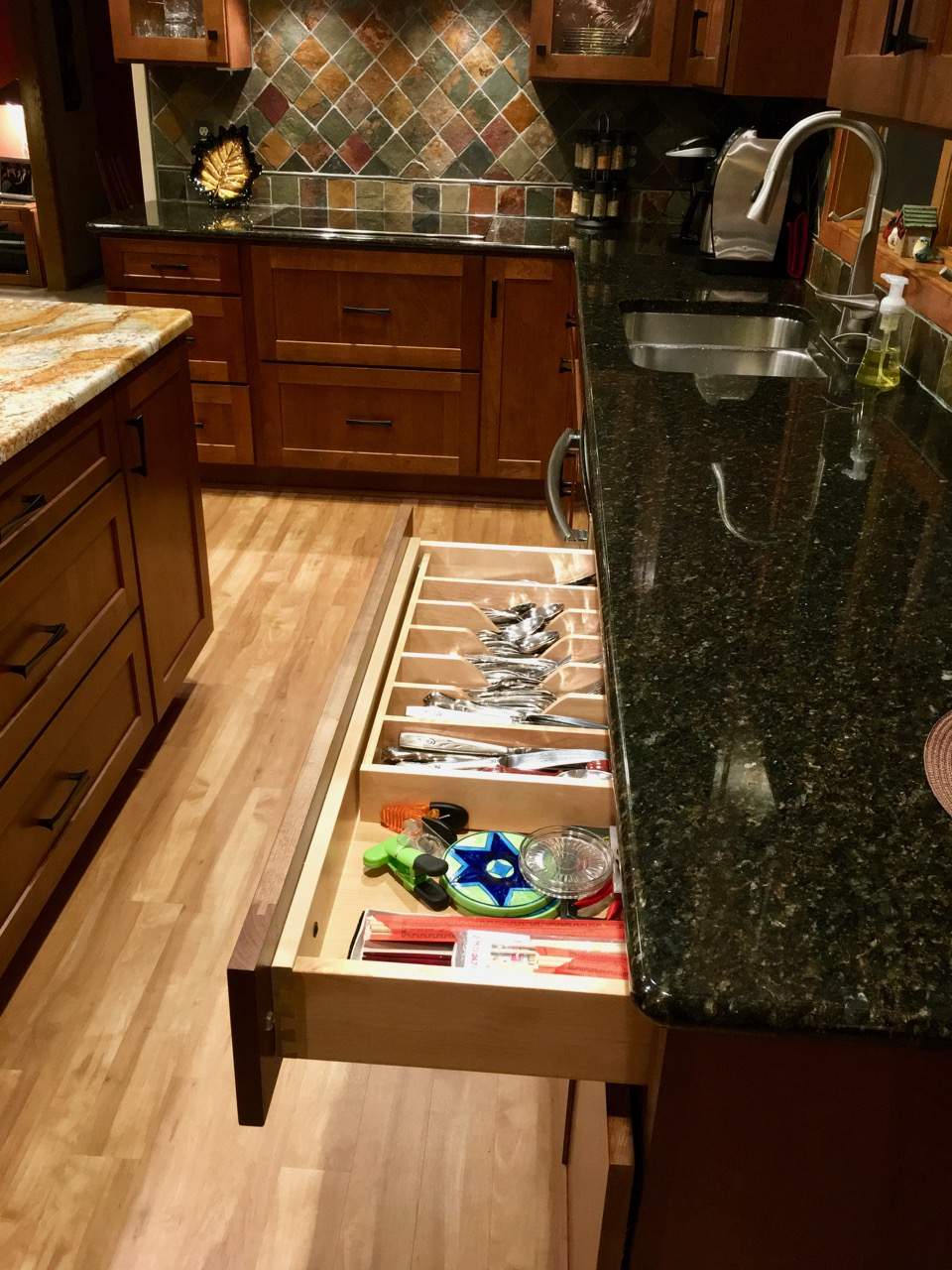 Cherry cabinets with internal organizers