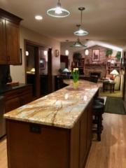 Counter-height granite island with seating
