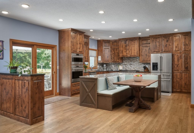 Open kitchen from dining area