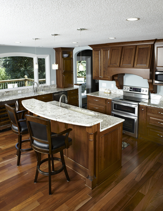 Plymouth kitchen incorporates nice curves.