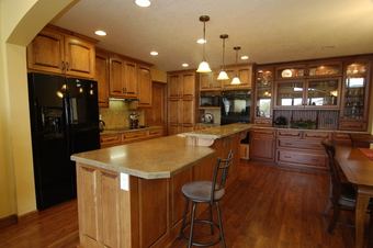 Multi-level island in Plymouth kitchen