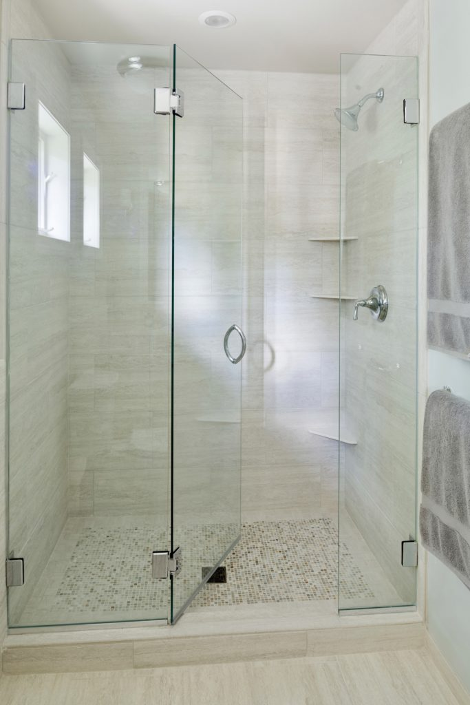 Frameless glass shower enclosure photo