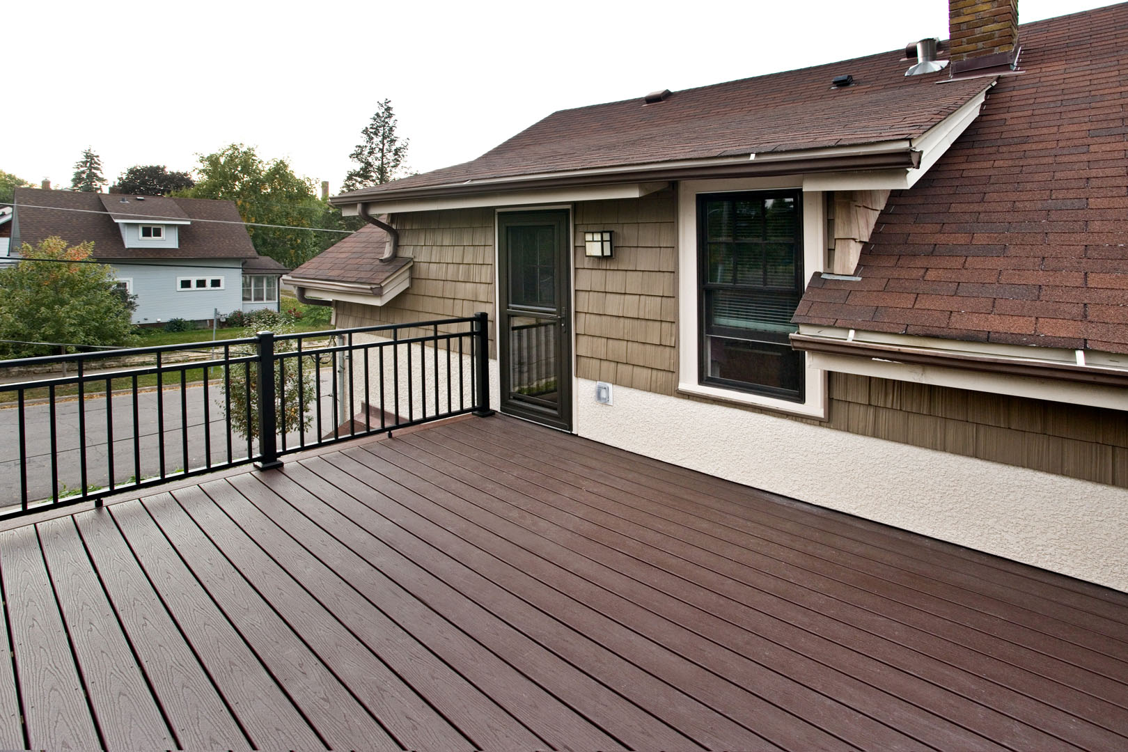 Roof deck off bathroom and mudroom addition