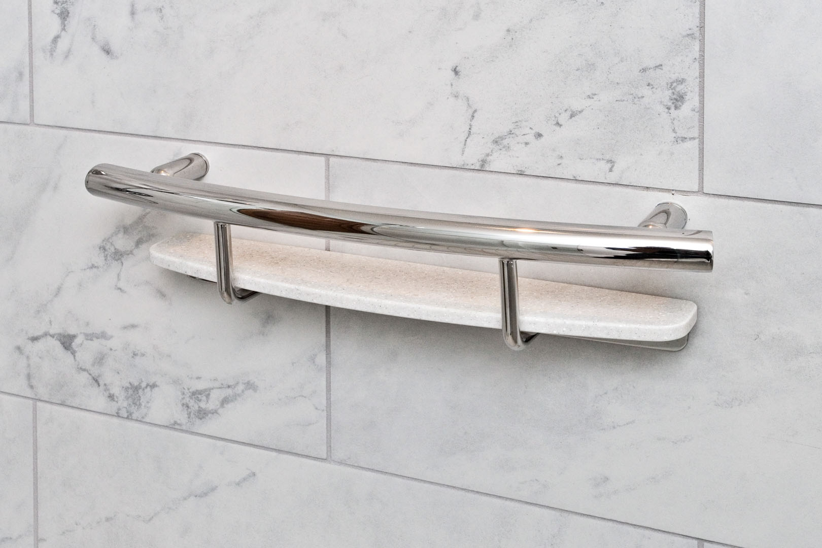 Shower grab bar shelf