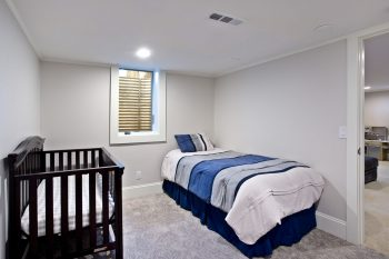 Basement bedroom with egress window